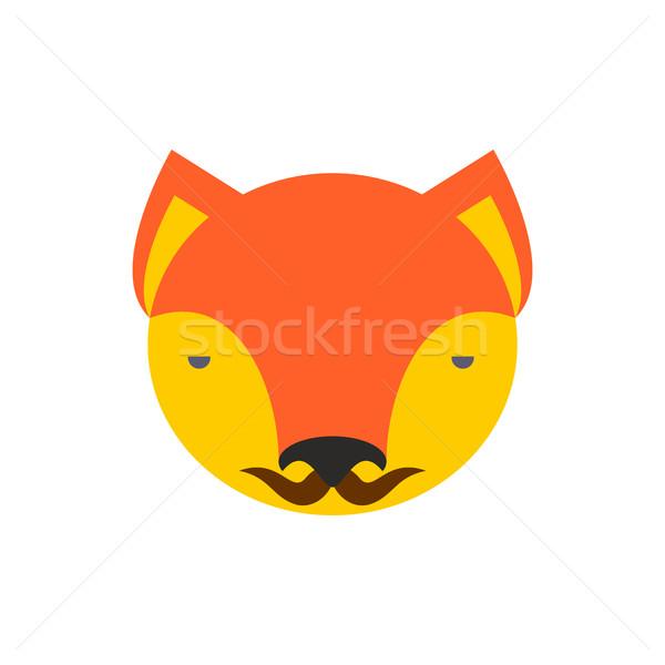 Fuchs Gesicht cute Kopf Element Kinder Stock foto © popaukropa