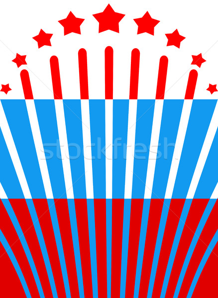 Russian flag and salute. Russia banner and fireworks. National b Stock photo © popaukropa