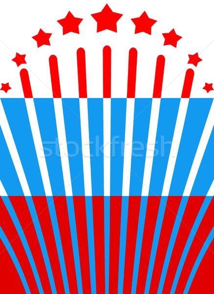 Ruso bandera Rusia banner fuegos artificiales fiesta Foto stock © popaukropa