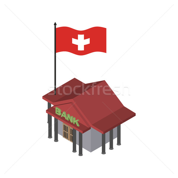Swiss bank. Financial building and flag of Switzerland Stock photo © popaukropa