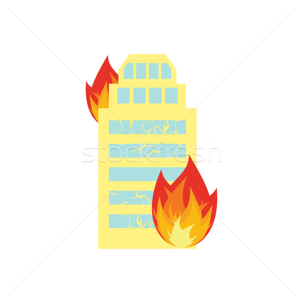 Stock photo: Fire in building. Flames from office windows. Arson home. Burn f
