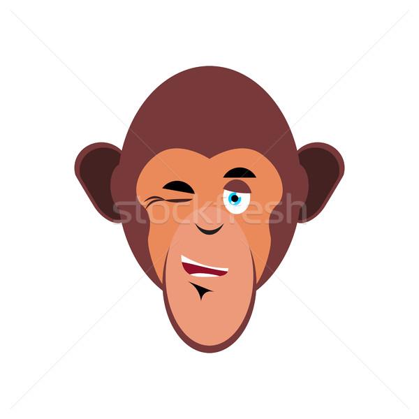 Monkey winking Emoji. marmoset merry emotion isolated. Chimpanze Stock photo © popaukropa