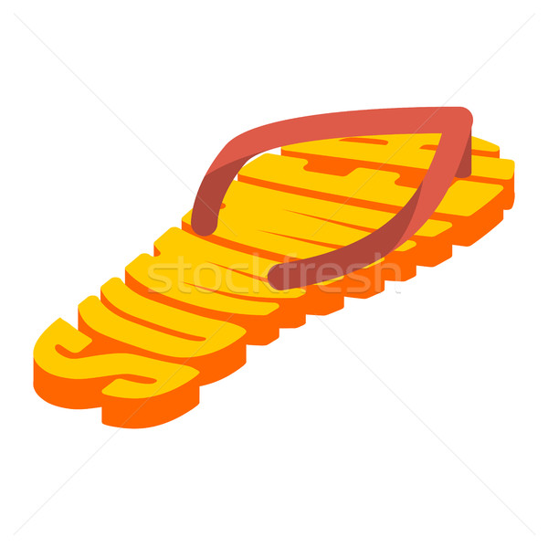 Summer and slippers lettering. Sea shoes Typography Stock photo © popaukropa