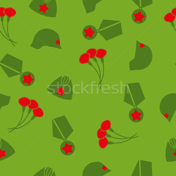 9 May. Victory day. Seamless pattern. Background of cloves, Cap, Stock photo © popaukropa