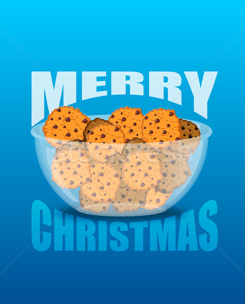 Happy Christmas. Bowl and cookie. Sweets on glass plate. Traditi Stock photo © popaukropa
