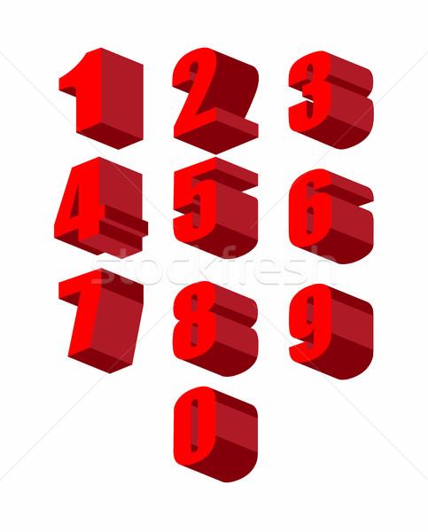 Szett 3D piros számok vektor nulla Stock fotó © popaukropa