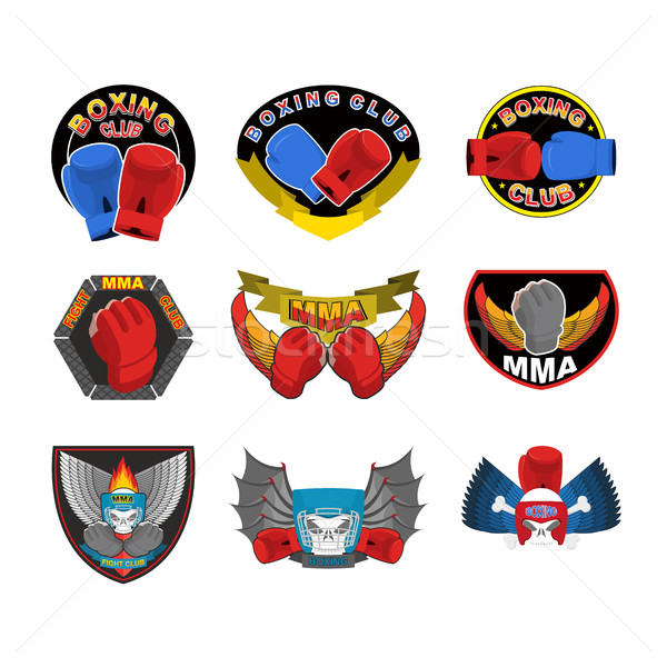 Set of boxing emblems, logos and stripes. MMA, fight club logo Stock photo © popaukropa