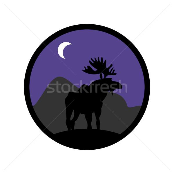 Szarvas embléma jávorszarvas logo állat agancs Stock fotó © popaukropa