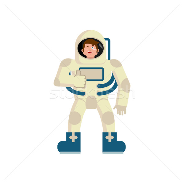 Astronaut winks Emoji. spaceman thumbs up happy emotion isolated Stock photo © popaukropa