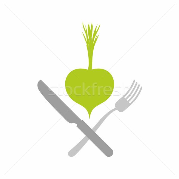 Logo vegetarisch restaurants groene plantaardige mes Stockfoto © popaukropa