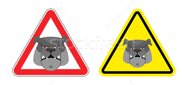 Warning sign attention dog. Hazard yellow sign a pet. Head Bulld Stock photo © popaukropa