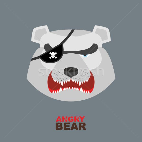 Jegesmedve fej mérges medve logo jégkorong Stock fotó © popaukropa