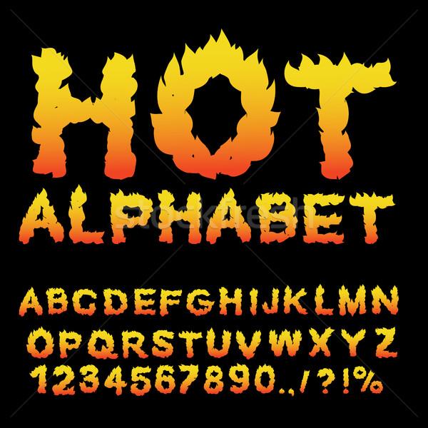 Caliente alfabeto llama fuente ardiente cartas Foto stock © popaukropa