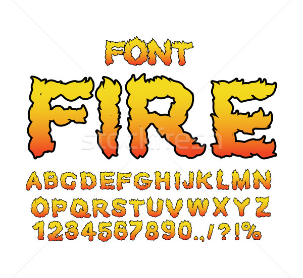Fire font. Flame ABC. Fiery letters. Burning alphabet. Hot typog Stock photo © popaukropa