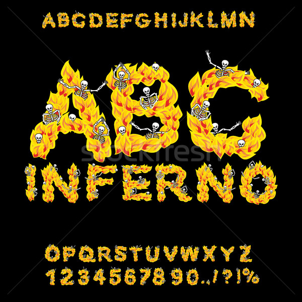 Inferno ABC. Hell font. Fire letters. Sinners in hellfire. helli Stock photo © popaukropa