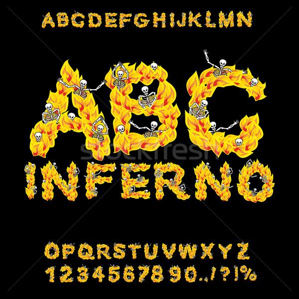 ад ад шрифт огня письма алфавит Сток-фото © popaukropa
