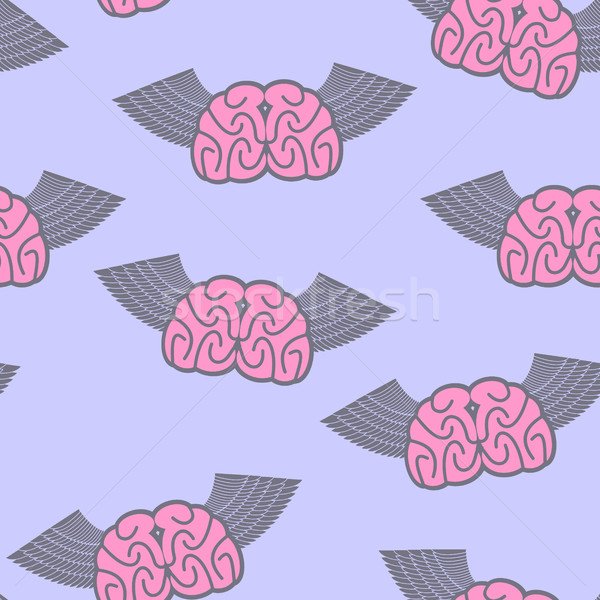 Winged brain seamless pattern. Brain with wings Symbol idea. Bra Stock photo © popaukropa
