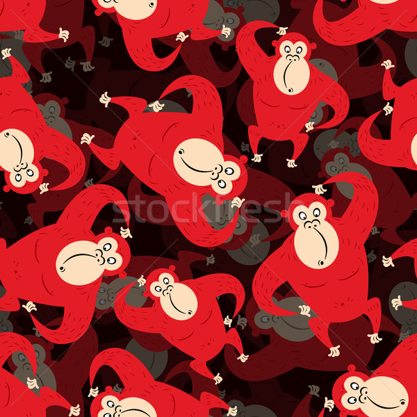 Red monkey surround background. Seamless pattern from gorilla. W Stock photo © popaukropa