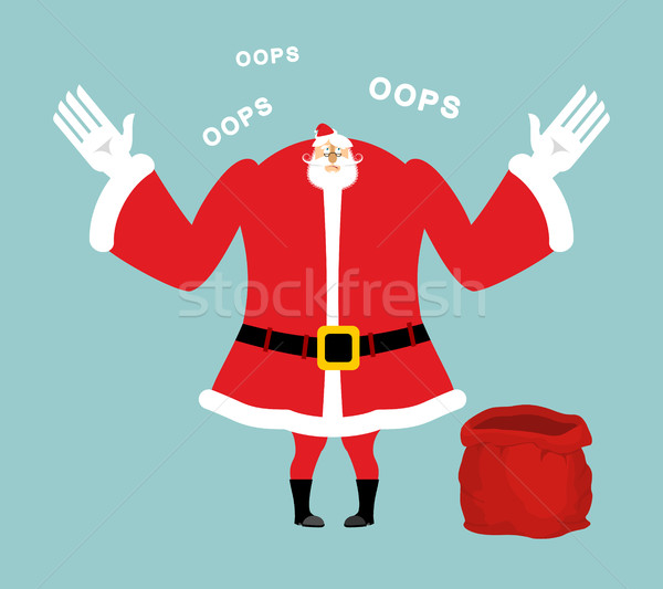 Santa empty red bag. Gifts ended. Santa Claus sorry speaks 'oops Stock photo © popaukropa