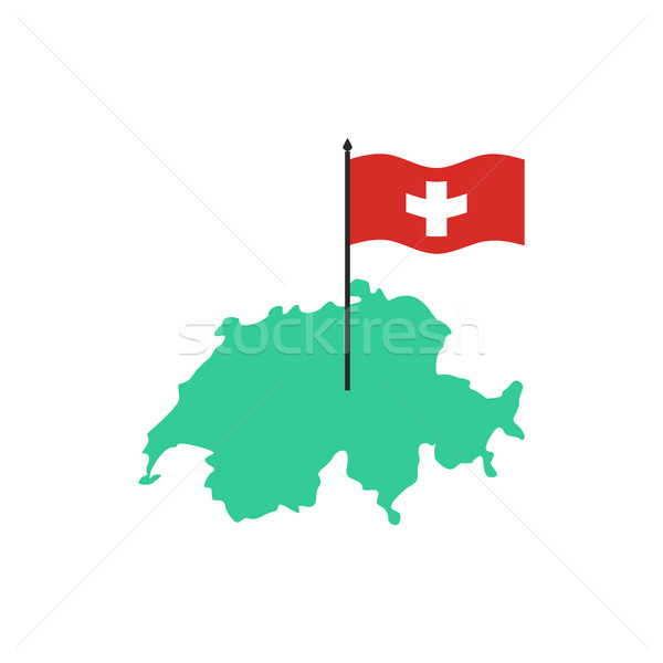 Switzerland Map and flag. Swiss State sign. Geography of country Stock photo © popaukropa
