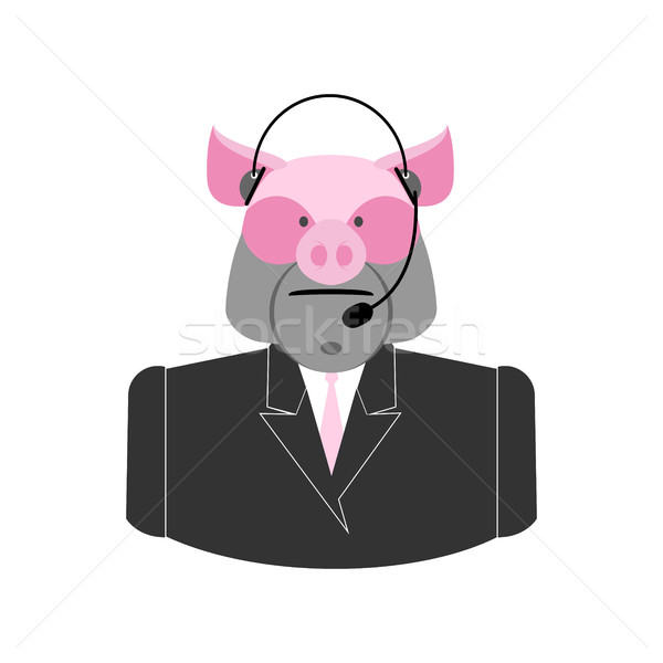 Farm call center. Pig with  headset. swine operator feedback far Stock photo © popaukropa