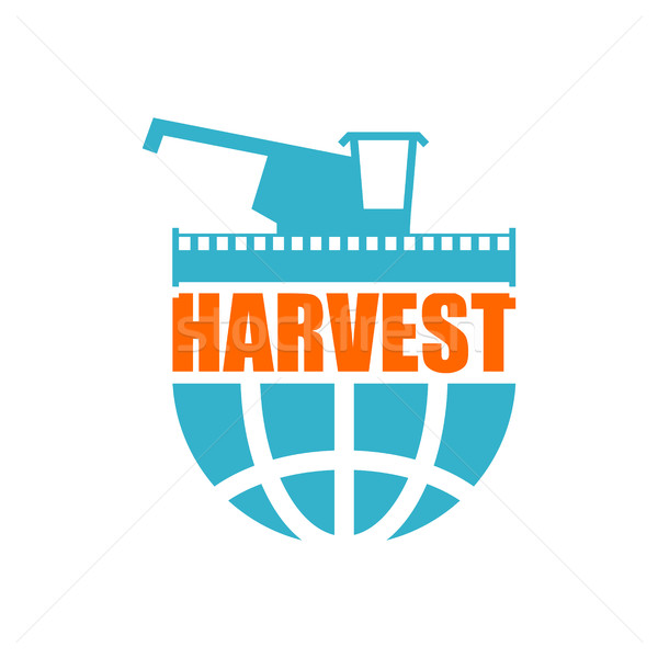harvest logo. Agriculture emblem. combine harvester and Earth. F Stock photo © popaukropa