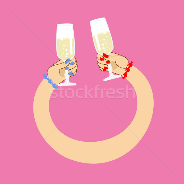 Womens hands to drink wine to clink.  glass of champagne. Lesbia Stock photo © popaukropa