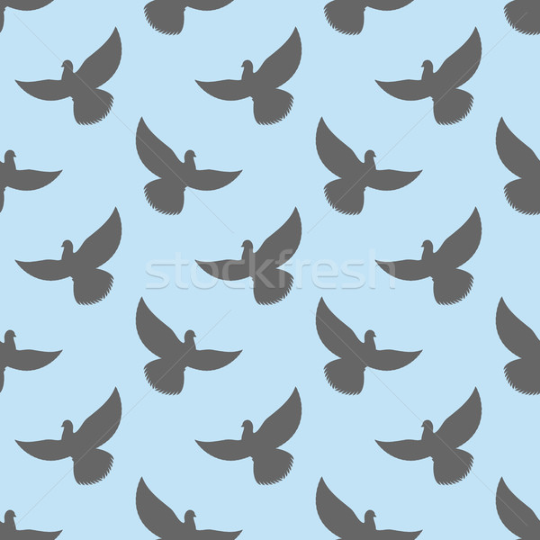 Black dove seamless pattern. Pigeons flying background. Birds in Stock photo © popaukropa