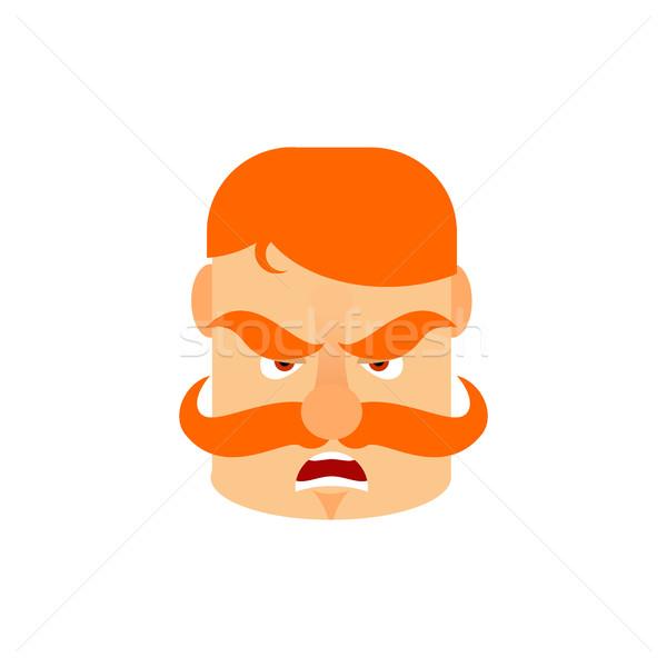 Vintage Irishman with red mustache angry Emoji. Retro Men face a Stock photo © popaukropa