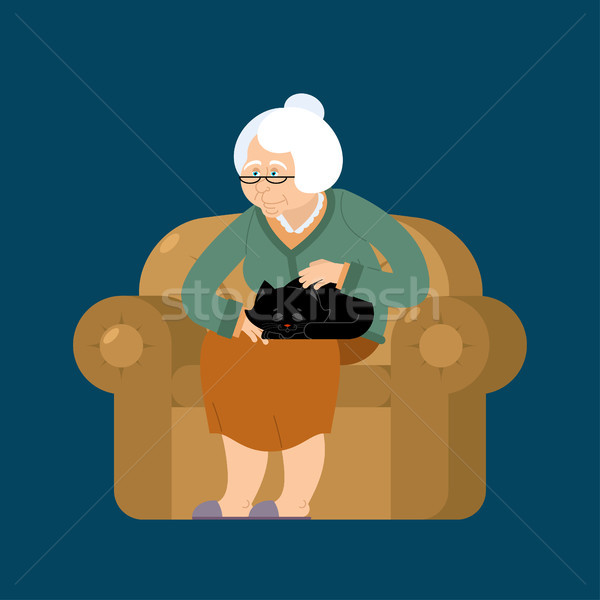 Grandmother and cat sitting on chair. granny cat lady. grandma a Stock photo © popaukropa
