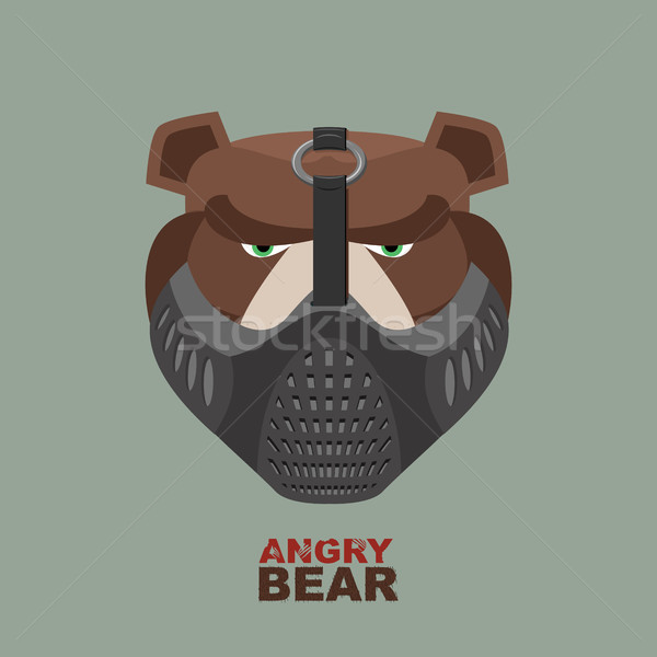 Angry bear in mask. A ferocious wild animal Stock photo © popaukropa