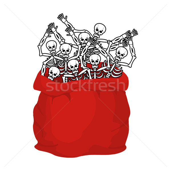 Skeletons sack in Santa Claus in Halloween. Many skulls in red b Stock photo © popaukropa