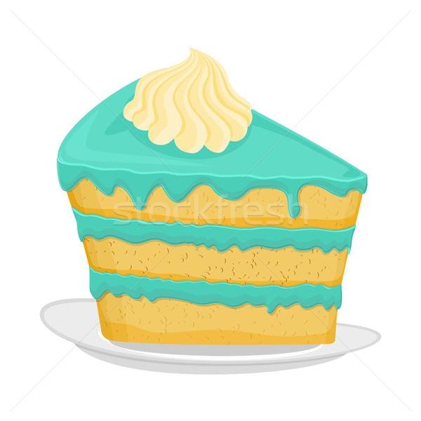 Darab torta tányér pite izolált desszert Stock fotó © popaukropa