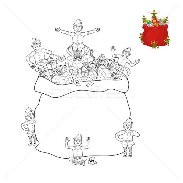 Stockfoto: Zak · elf · kleurboek · christmas · zak