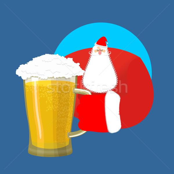 Santa Claus and beer. Christmas beer mug. New Year alcohol Stock photo © popaukropa
