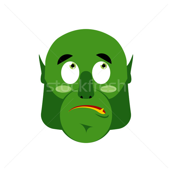 Ogre surprised Emoji. Goblin astonished emotion isolated. Green  Stock photo © popaukropa