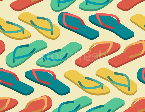 slippers seamless pattern. Summer shoes ornament. Beach Boots ba Stock photo © popaukropa