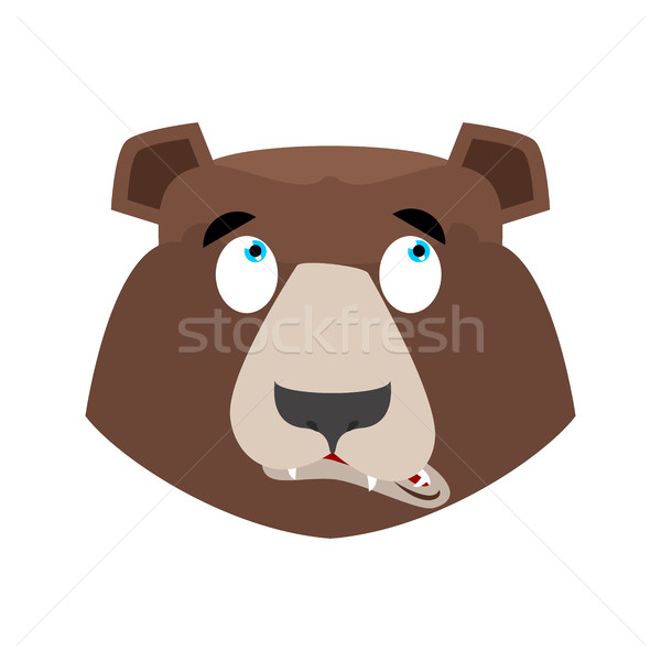 Bear surprised Emoji. grizzly astonished emotion. face Wild anim Stock photo © popaukropa