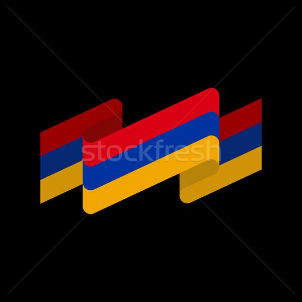Armenia flag ribbon isolated. Armenian tape banner. National sym Stock photo © popaukropa