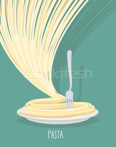 Plaat pasta schotel spaghetti voedsel hand Stockfoto © popaukropa