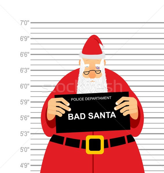 Mugshot is bad Santa. Arrested Sana Claus at  police station hol Stock photo © popaukropa