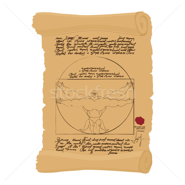 Vitruvian man of Leonardo Da Vinci humorous illustration. Spots Stock photo © popaukropa