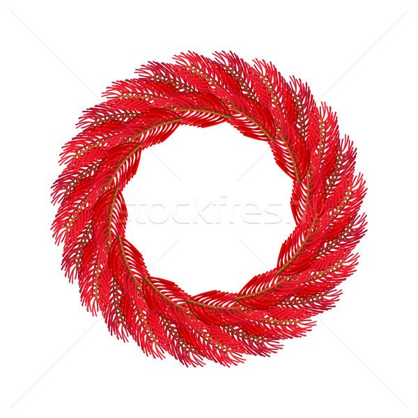 Natale ghirlanda rosso isolato ramo Foto d'archivio © popaukropa