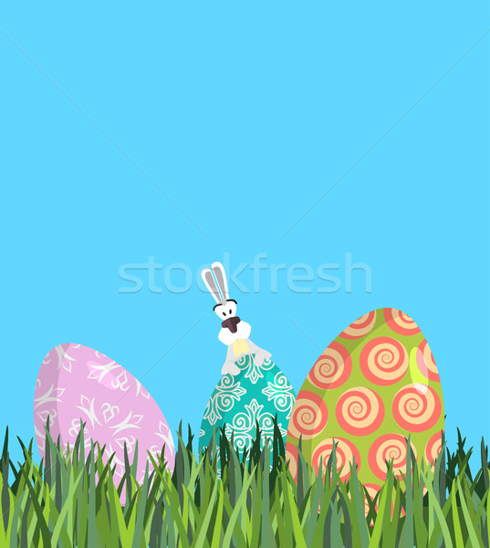 Easter Painted egg and Bunny. Religious holiday Stock photo © popaukropa