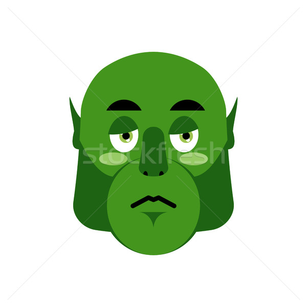 Ogre sad Emoji. Goblin sorrowful emotion isolated. Green monster Stock photo © popaukropa
