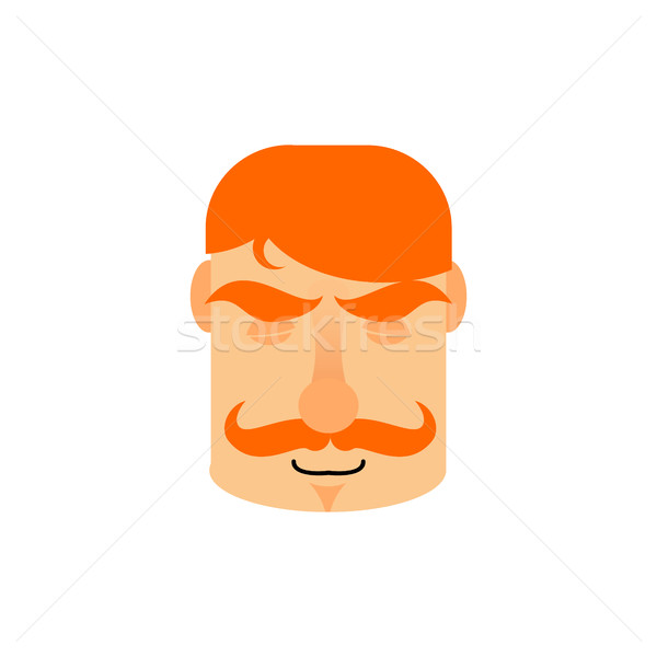 Vintage Irishman with red mustache sleeping Emoji. Retro Men fac Stock photo © popaukropa