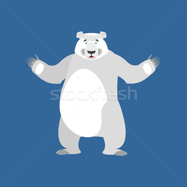 Polar Bear happy Emoji. Wild animal Arctic and Antarctic. Merry  Stock photo © popaukropa