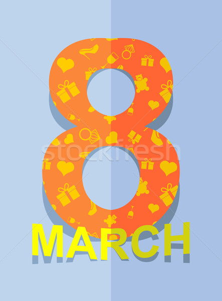 8 March. International women's day. 3D postcard. Stock photo © popaukropa