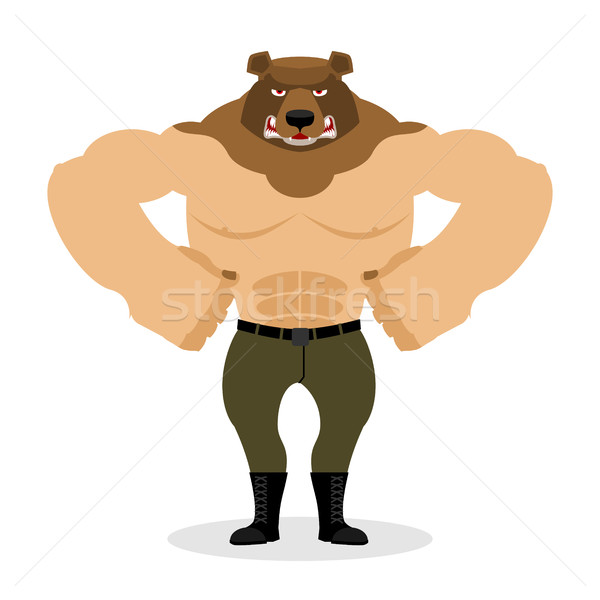 Man Bear. Strong powerful wild evil animal with big muscles. Bod Stock photo © popaukropa