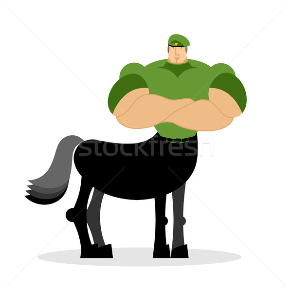 Centaur soldier in green beret. Military mythical creature. Half Stock photo © popaukropa